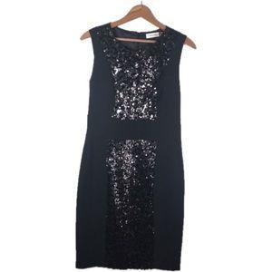 Calvin Klein Black Sequin Detailed Sheath Dress
